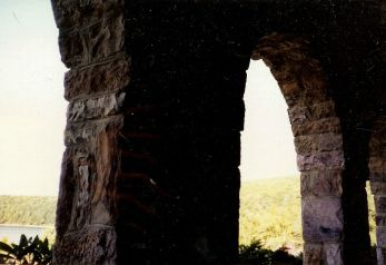 I overlaid this photo of a view through the stone archways of the Lodge.