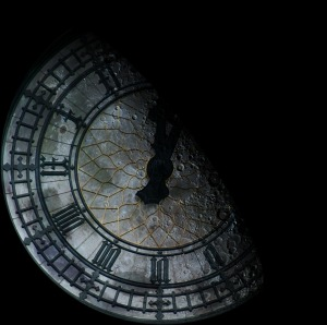 I overlayed the moon on top of the clock face.