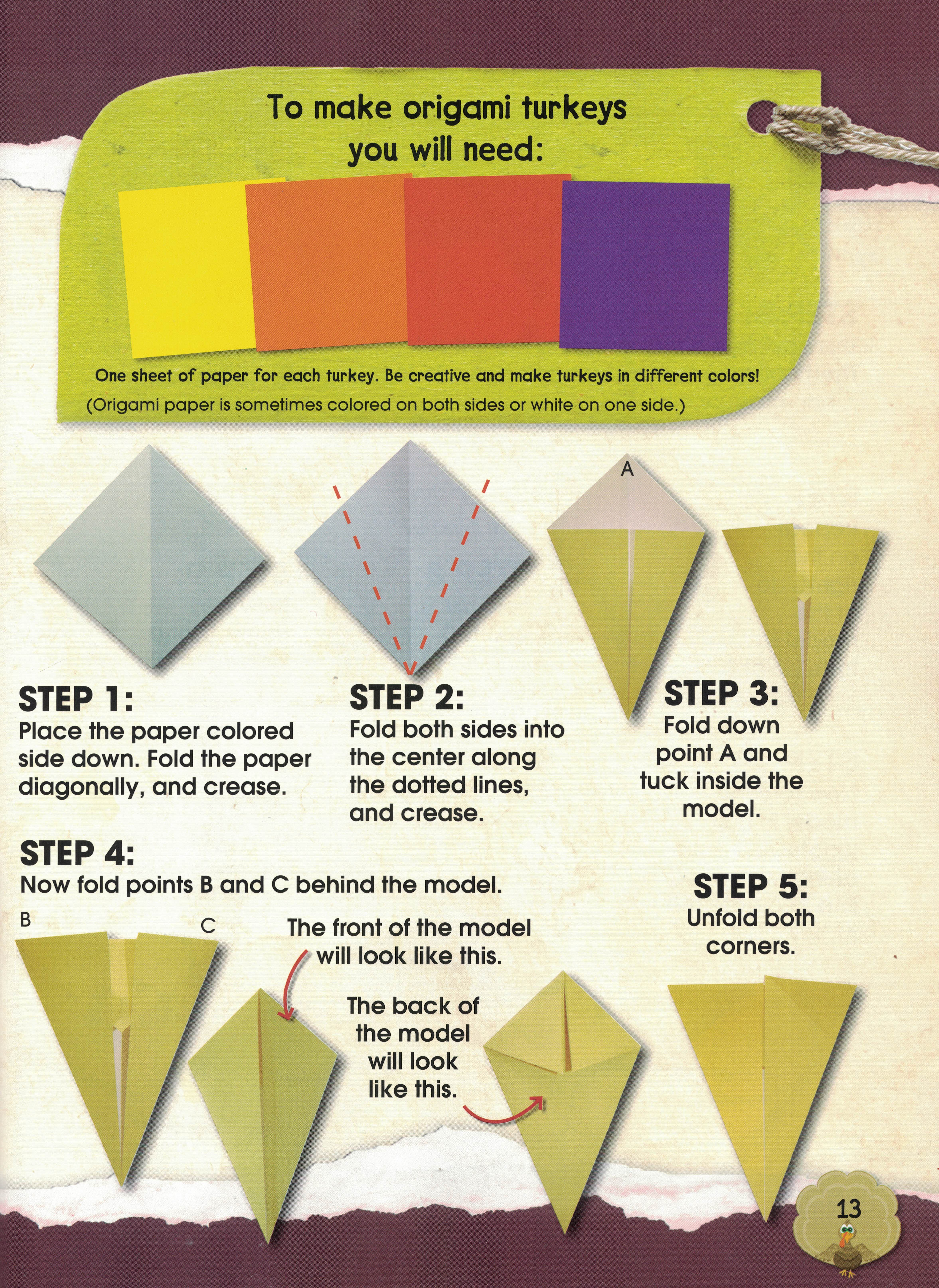 thanksgiving origami e � library of cats